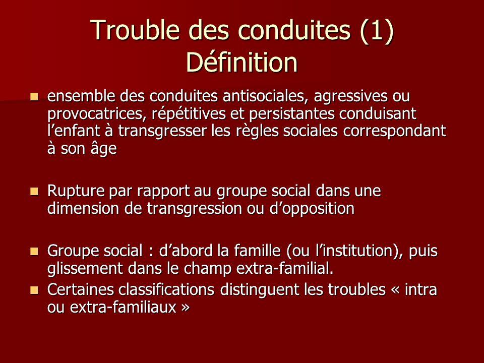 Trouble des conduites (1) Définition ensemble des conduites antisociales, agressives ou provocatrices, répétitives et persistantes conduisant lenfant