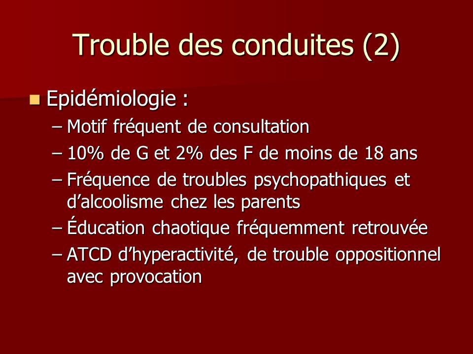 Trouble des conduites (2) Epidémiologie : Epidémiologie : –Motif fréquent de consultation –10% de G et 2% des F de moins de 18 ans –Fréquence de troub