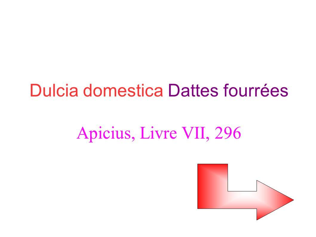 Dulcia domestica Dattes fourrées Apicius, Livre VII, 296