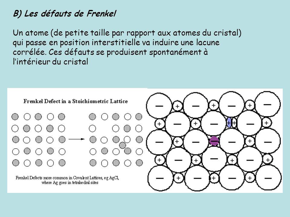 B) Les défauts de Frenkel Un atome (de petite taille par rapport aux atomes du cristal) qui passe en position interstitielle va induire une lacune cor