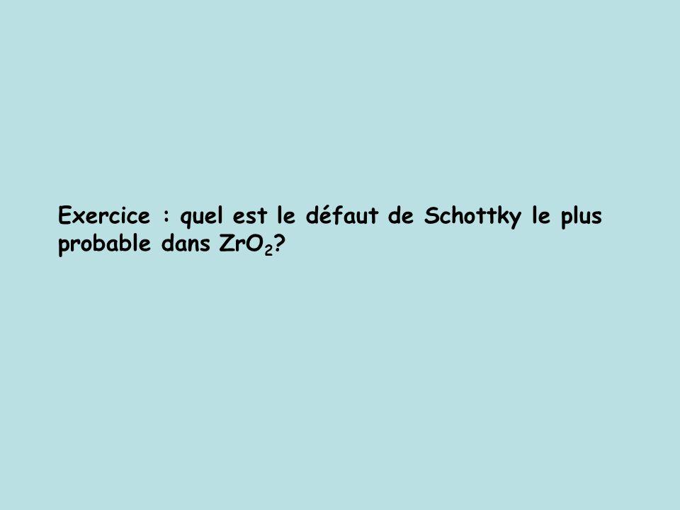 Exercice : quel est le défaut de Schottky le plus probable dans ZrO 2 ?