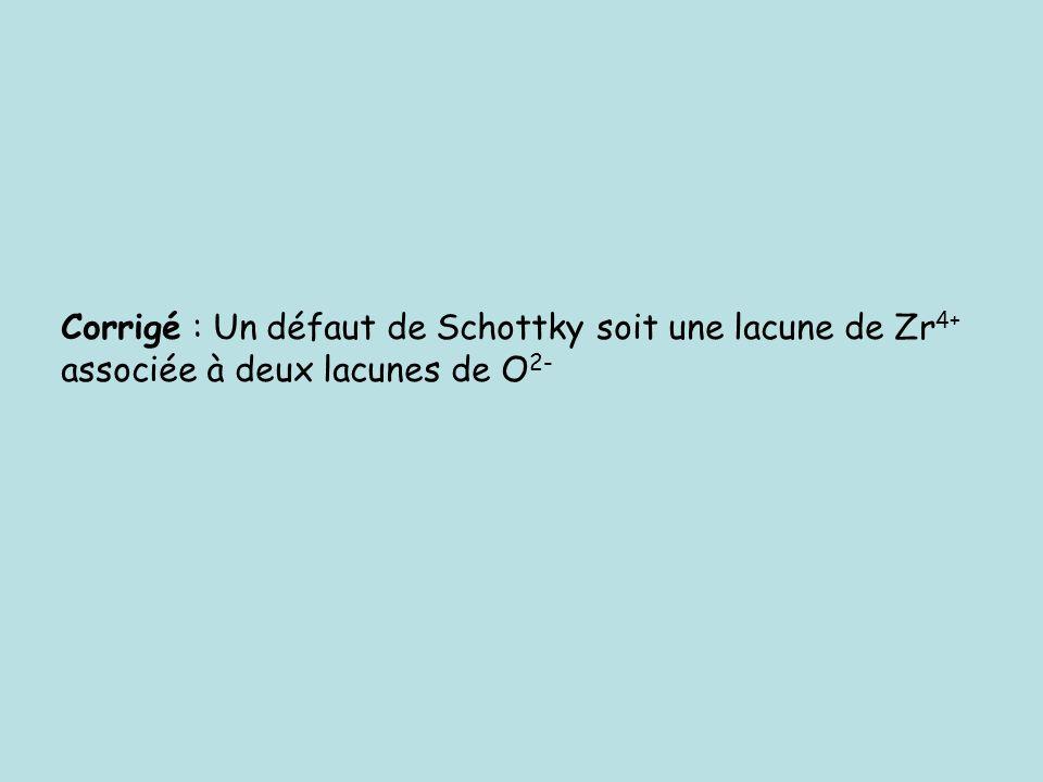 Corrigé : Un défaut de Schottky soit une lacune de Zr 4+ associée à deux lacunes de O 2-