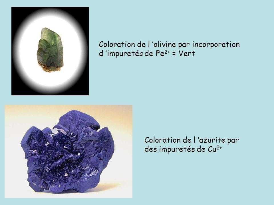 Coloration de l olivine par incorporation d impuretés de Fe 2+ = Vert Coloration de l azurite par des impuretés de Cu 2+