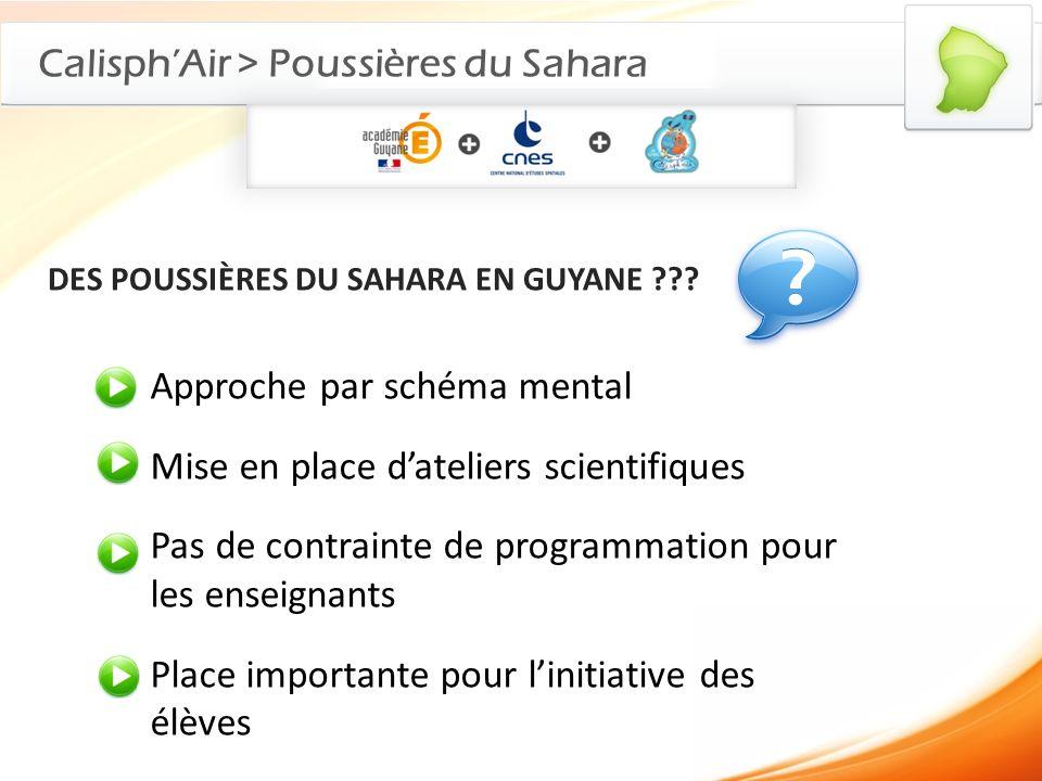 CalisphAir > Poussières du Sahara DES POUSSIÈRES DU SAHARA EN GUYANE ??? Approche par schéma mental Mise en place dateliers scientifiques Pas de contr