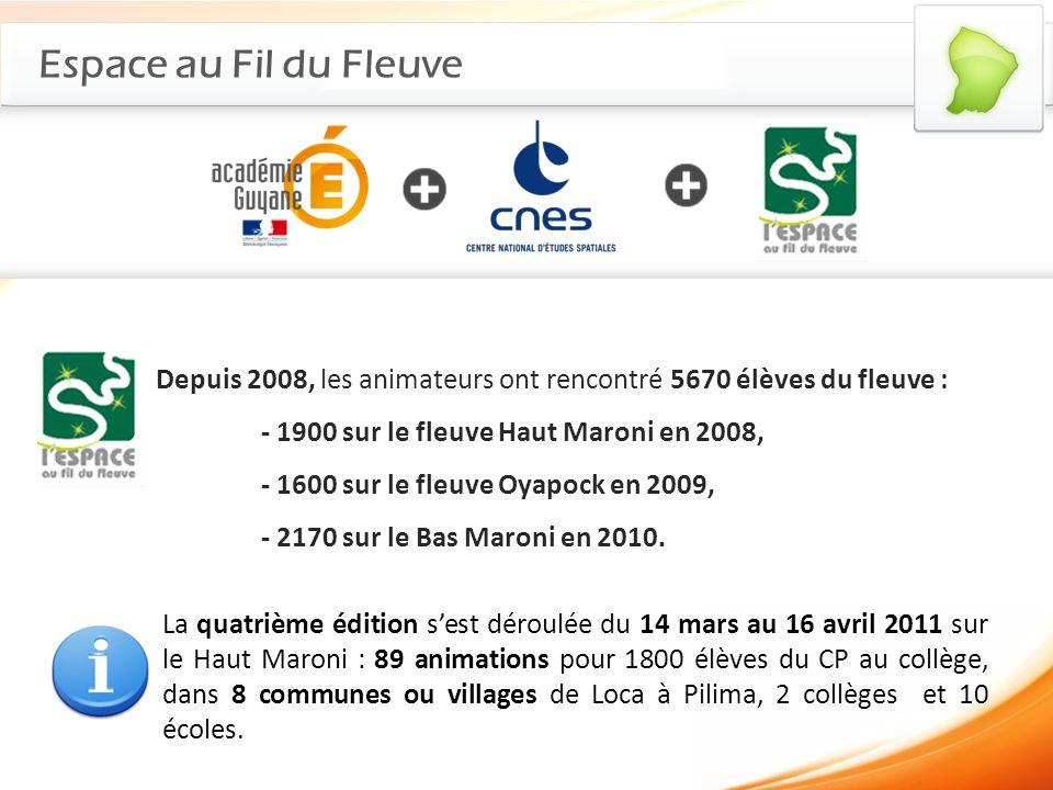 Espace au Fil du Fleuve Depuis 2008, les animateurs ont rencontré 5670 élèves du fleuve : - 1900 sur le fleuve Haut Maroni en 2008, - 1600 sur le fleu
