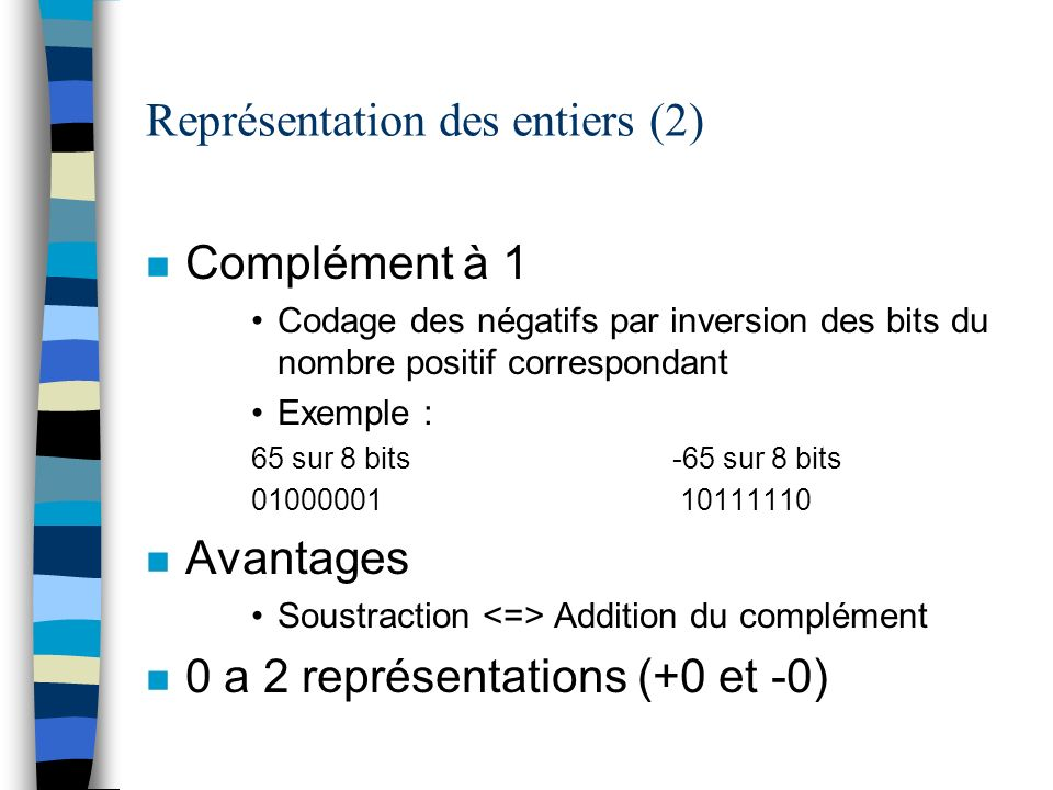 Représentation des entiers (2) n Complément à 1 Codage des négatifs par inversion des bits du nombre positif correspondant Exemple : 65 sur 8 bits -65