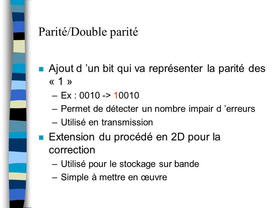 Parité/Double parité n Ajout d un bit qui va représenter la parité des « 1 » –Ex : 0010 -> 10010 –Permet de détecter un nombre impair d erreurs –Utili