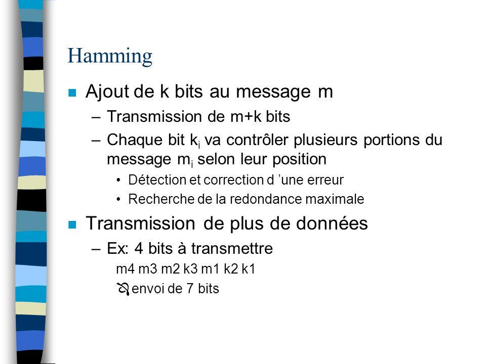 Hamming n Ajout de k bits au message m –Transmission de m+k bits –Chaque bit k i va contrôler plusieurs portions du message m i selon leur position Dé