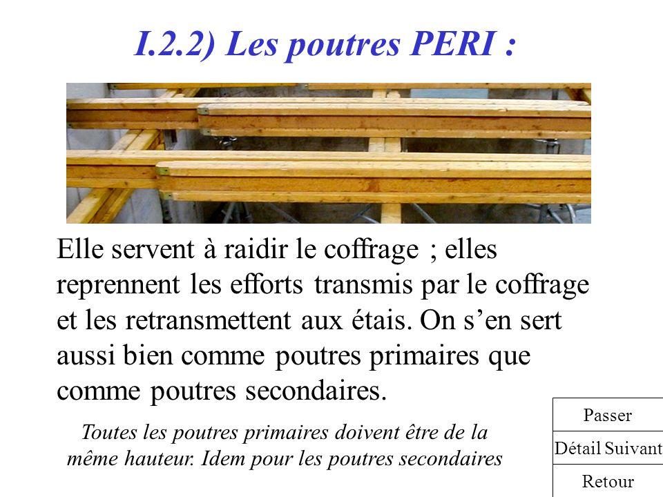 I.2.2) Les poutres PERI : Elle servent à raidir le coffrage ; elles reprennent les efforts transmis par le coffrage et les retransmettent aux étais. O