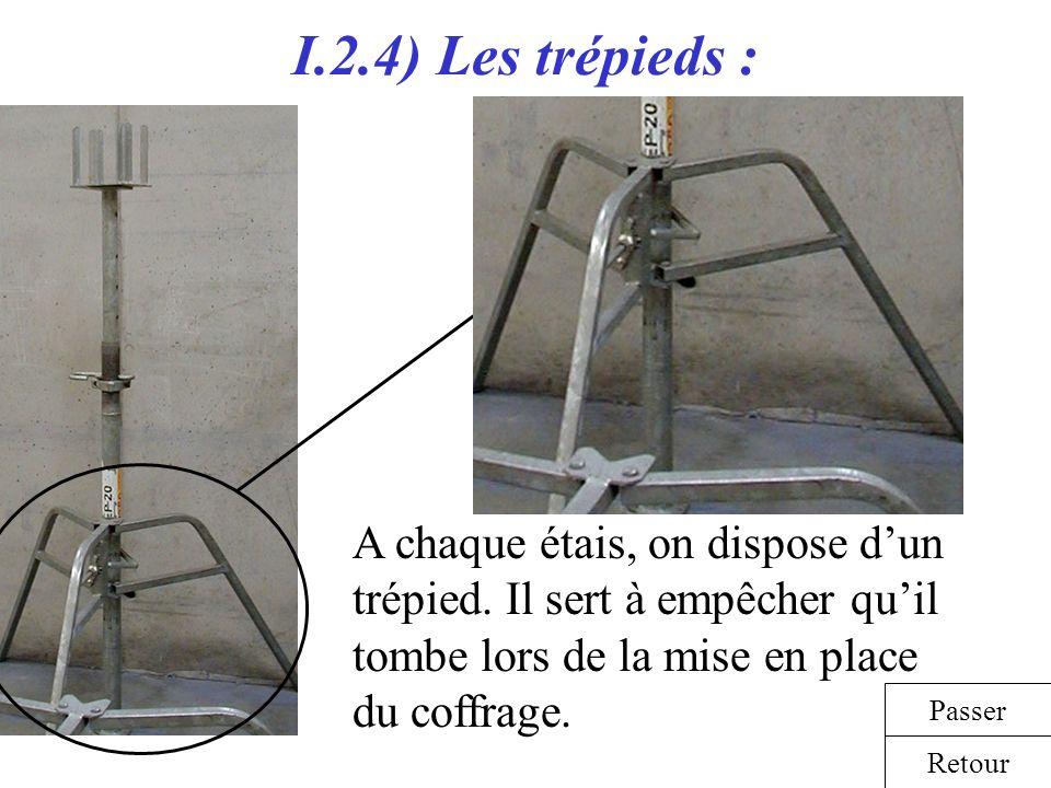 I.2.4) Les trépieds : A chaque étais, on dispose dun trépied. Il sert à empêcher quil tombe lors de la mise en place du coffrage. Retour Passer