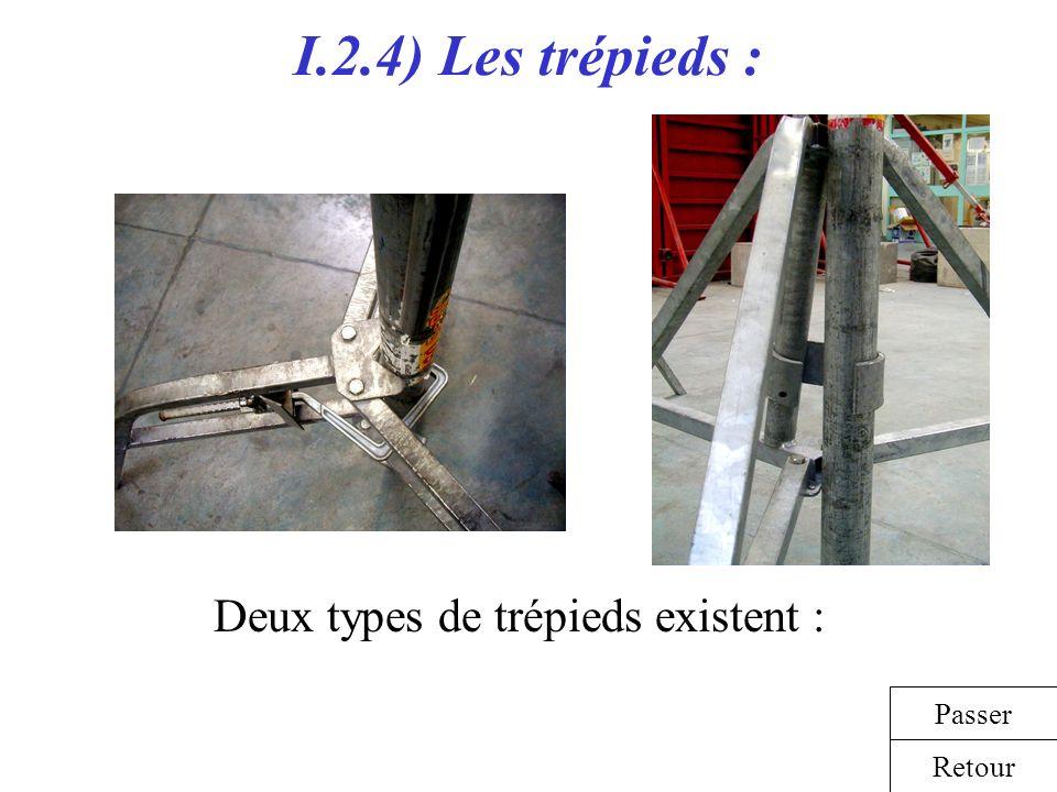I.2.4) Les trépieds : Retour Passer Deux types de trépieds existent :