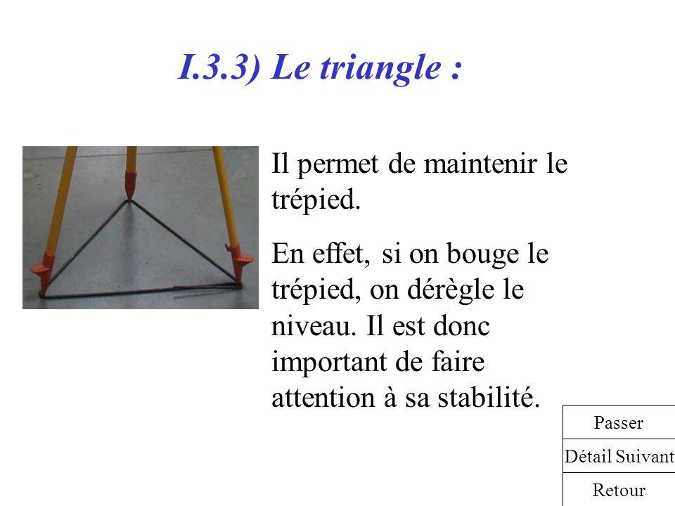 I.3.3) Le triangle : Il permet de maintenir le trépied. En effet, si on bouge le trépied, on dérègle le niveau. Il est donc important de faire attenti