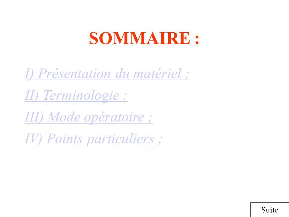 SOMMAIRE : I) Présentation du matériel ; Suite II) Terminologie ; III) Mode opératoire ; IV) Points particuliers ;