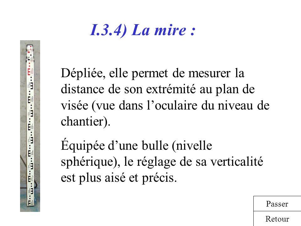 I.3.4) La mire : Dépliée, elle permet de mesurer la distance de son extrémité au plan de visée (vue dans loculaire du niveau de chantier). Équipée dun