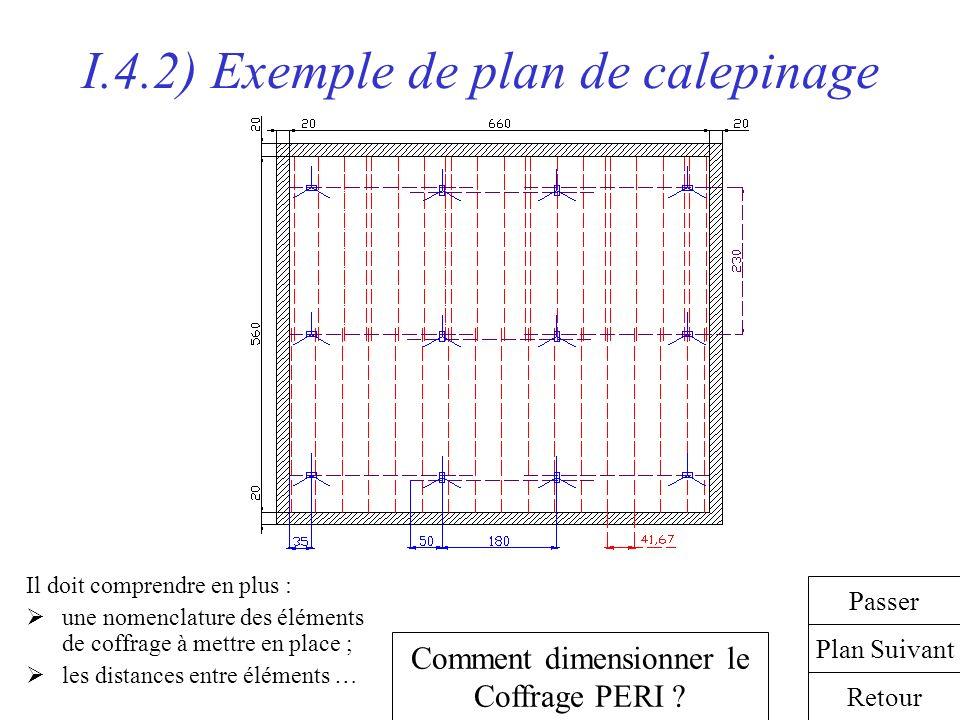 I.4.2) Exemple de plan de calepinage Il doit comprendre en plus : une nomenclature des éléments de coffrage à mettre en place ; les distances entre él