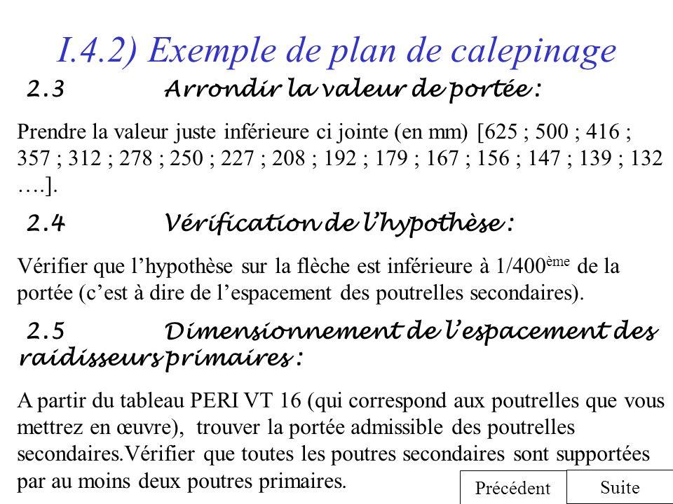 I.4.2) Exemple de plan de calepinage 2.3 Arrondir la valeur de portée : Prendre la valeur juste inférieure ci jointe (en mm) [625 ; 500 ; 416 ; 357 ;