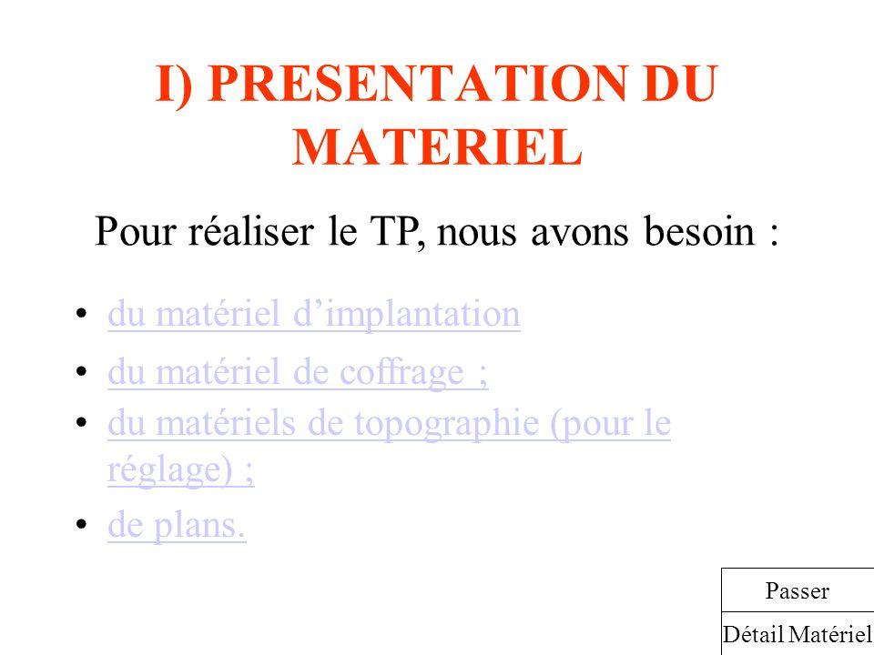 I) PRESENTATION DU MATERIEL du matériel dimplantation Pour réaliser le TP, nous avons besoin : Détail Matériel Passer du matériel de coffrage ; du mat