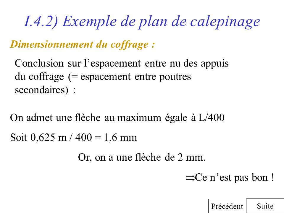 I.4.2) Exemple de plan de calepinage Dimensionnement du coffrage : Conclusion sur lespacement entre nu des appuis du coffrage (= espacement entre pout