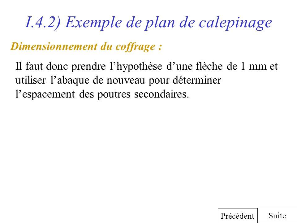 I.4.2) Exemple de plan de calepinage Dimensionnement du coffrage : Il faut donc prendre lhypothèse dune flèche de 1 mm et utiliser labaque de nouveau