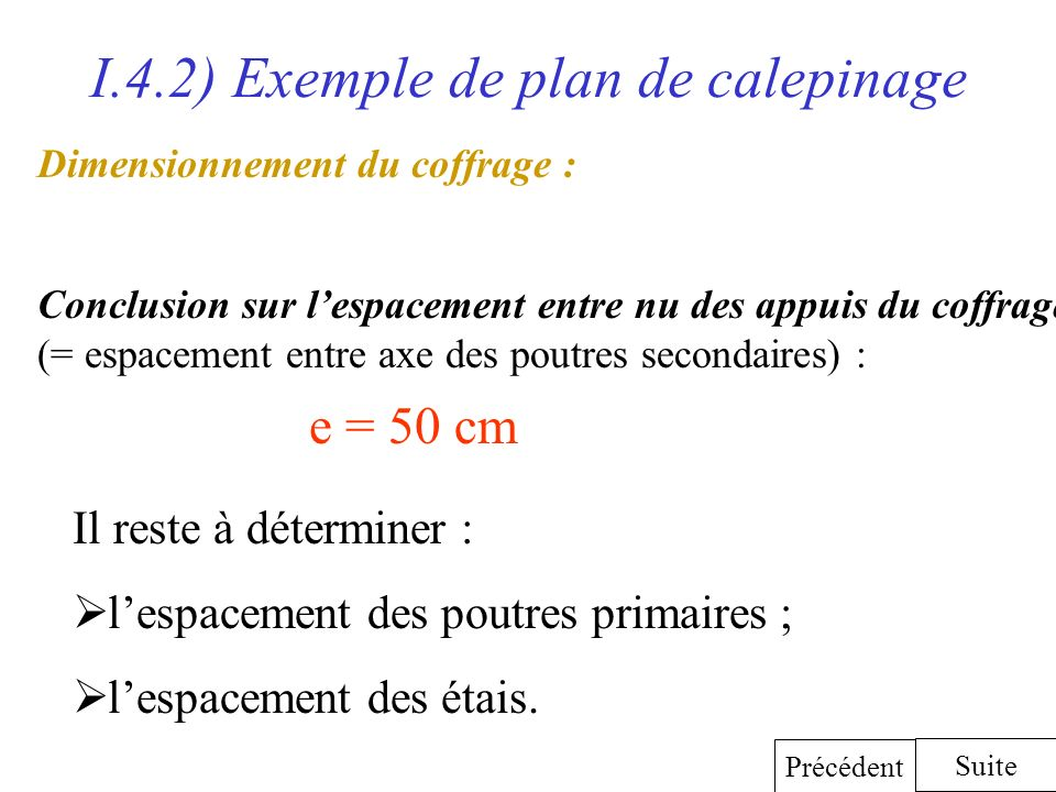 I.4.2) Exemple de plan de calepinage Dimensionnement du coffrage : Conclusion sur lespacement entre nu des appuis du coffrage (= espacement entre axe