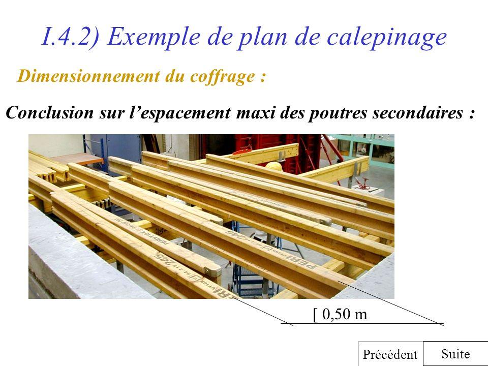 I.4.2) Exemple de plan de calepinage Dimensionnement du coffrage : Conclusion sur lespacement maxi des poutres secondaires : Suite Précédent 0,50 m