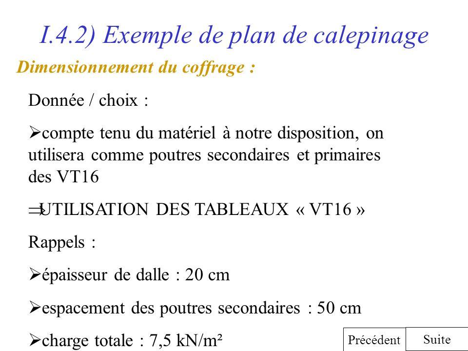 I.4.2) Exemple de plan de calepinage Dimensionnement du coffrage : Suite Précédent Donnée / choix : compte tenu du matériel à notre disposition, on ut