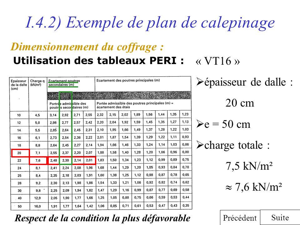 I.4.2) Exemple de plan de calepinage Dimensionnement du coffrage : Utilisation des tableaux PERI : Suite Précédent « VT16 » épaisseur de dalle : 20 cm