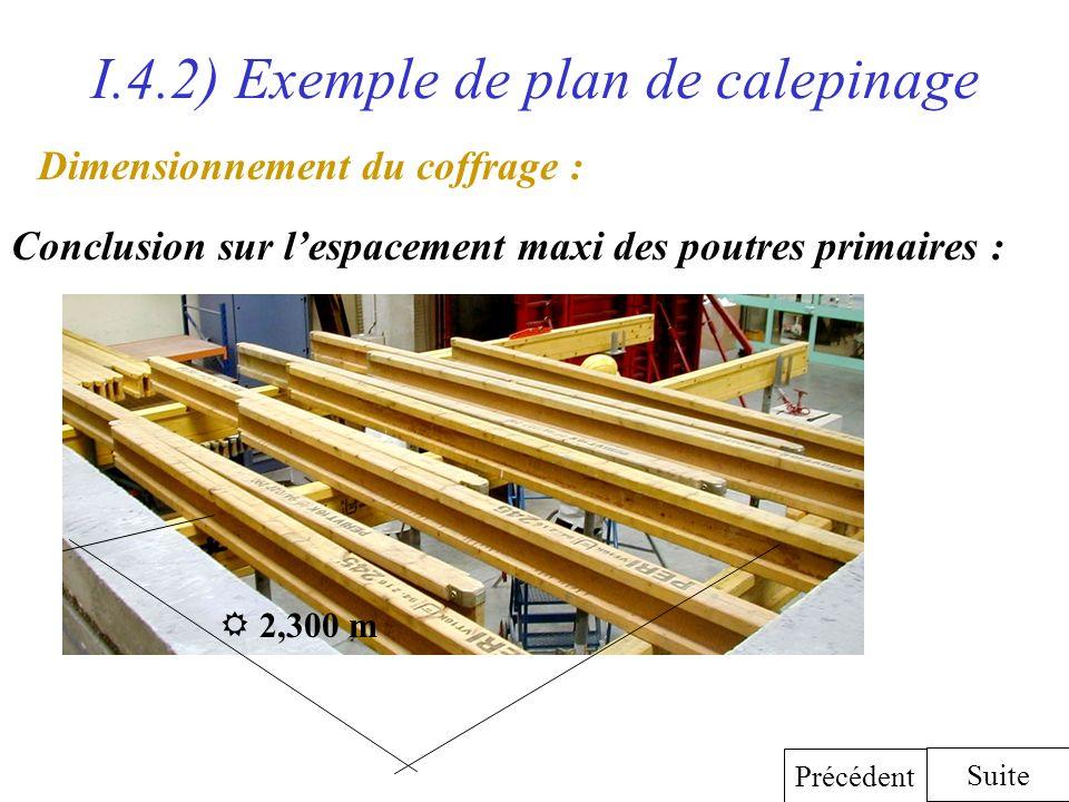 I.4.2) Exemple de plan de calepinage Dimensionnement du coffrage : Conclusion sur lespacement maxi des poutres primaires : Suite Précédent 2,300 m