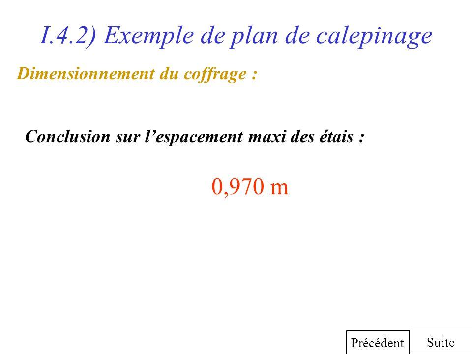 I.4.2) Exemple de plan de calepinage Dimensionnement du coffrage : Conclusion sur lespacement maxi des étais : 0,970 m Suite Précédent