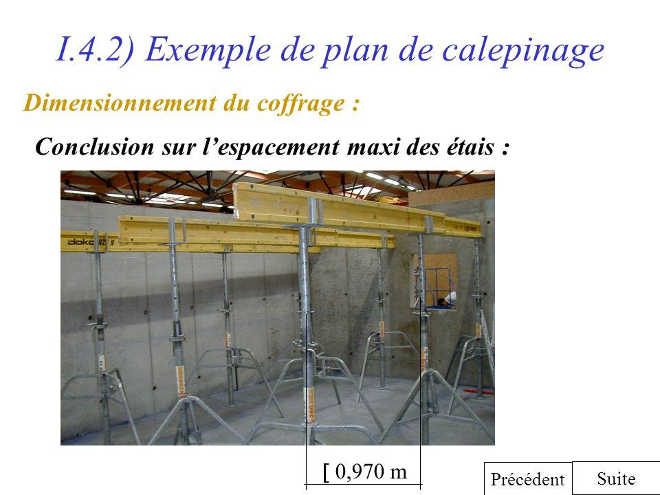 I.4.2) Exemple de plan de calepinage Dimensionnement du coffrage : Conclusion sur lespacement maxi des étais : Suite Précédent 0,970 m