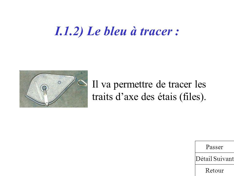 I.1.2) Le bleu à tracer : Il va permettre de tracer les traits daxe des étais (files). Détail Suivant Retour Passer