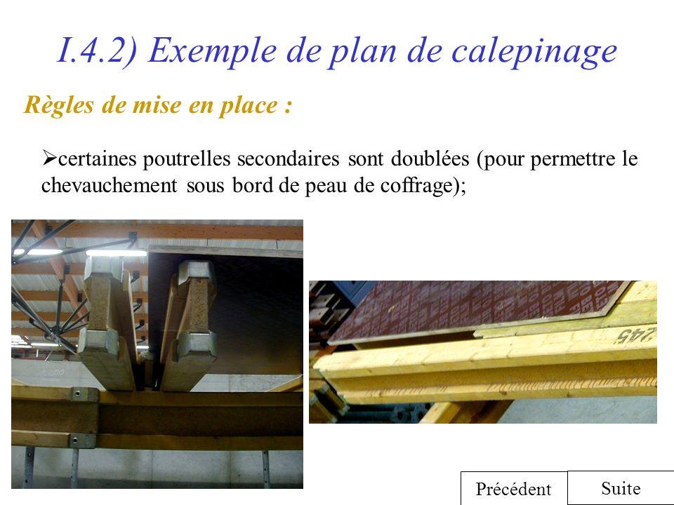 I.4.2) Exemple de plan de calepinage certaines poutrelles secondaires sont doublées (pour permettre le chevauchement sous bord de peau de coffrage); S