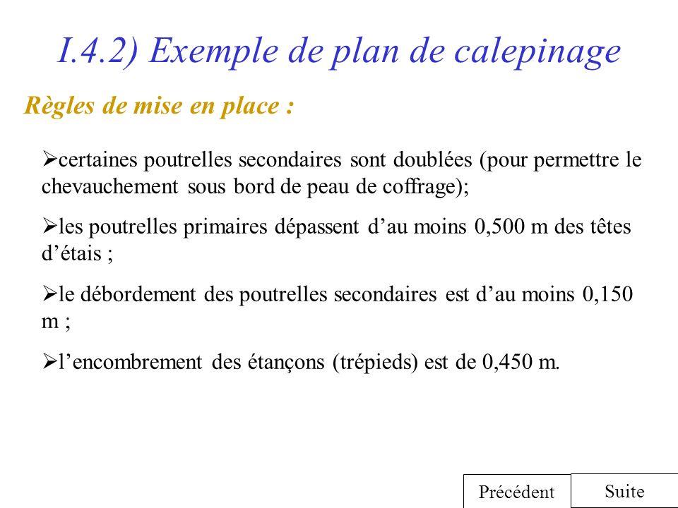 I.4.2) Exemple de plan de calepinage les poutrelles primaires dépassent dau moins 0,500 m des têtes détais ; le débordement des poutrelles secondaires