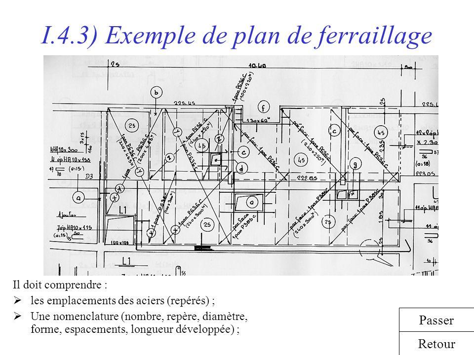 I.4.3) Exemple de plan de ferraillage Il doit comprendre : les emplacements des aciers (repérés) ; Une nomenclature (nombre, repère, diamètre, forme,