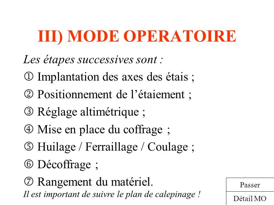 III) MODE OPERATOIRE Les étapes successives sont : Implantation des axes des étais ; Positionnement de létaiement ; Réglage altimétrique ; Mise en pla