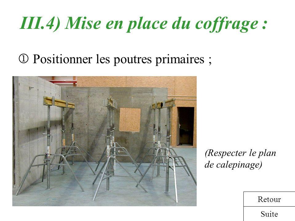 III.4) Mise en place du coffrage : Positionner les poutres primaires ; (Respecter le plan de calepinage) Suite Retour