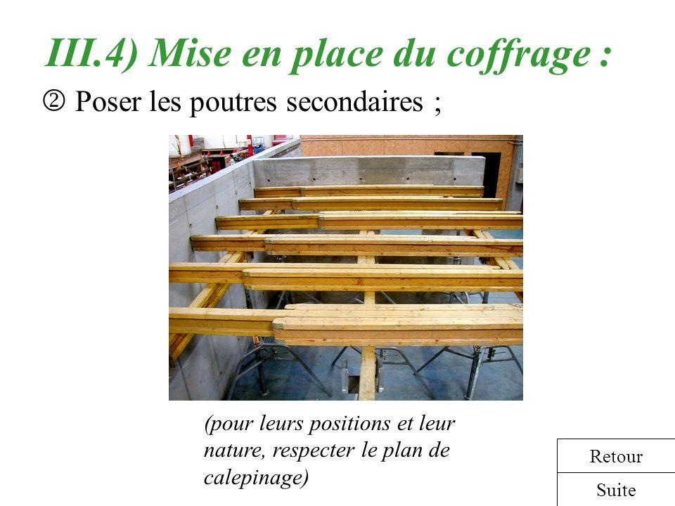 III.4) Mise en place du coffrage : Poser les poutres secondaires ; (pour leurs positions et leur nature, respecter le plan de calepinage) Suite Retour