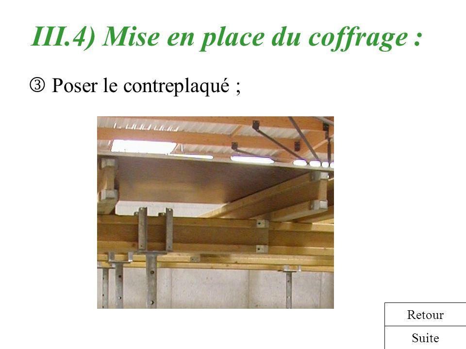 III.4) Mise en place du coffrage : Poser le contreplaqué ; Suite Retour