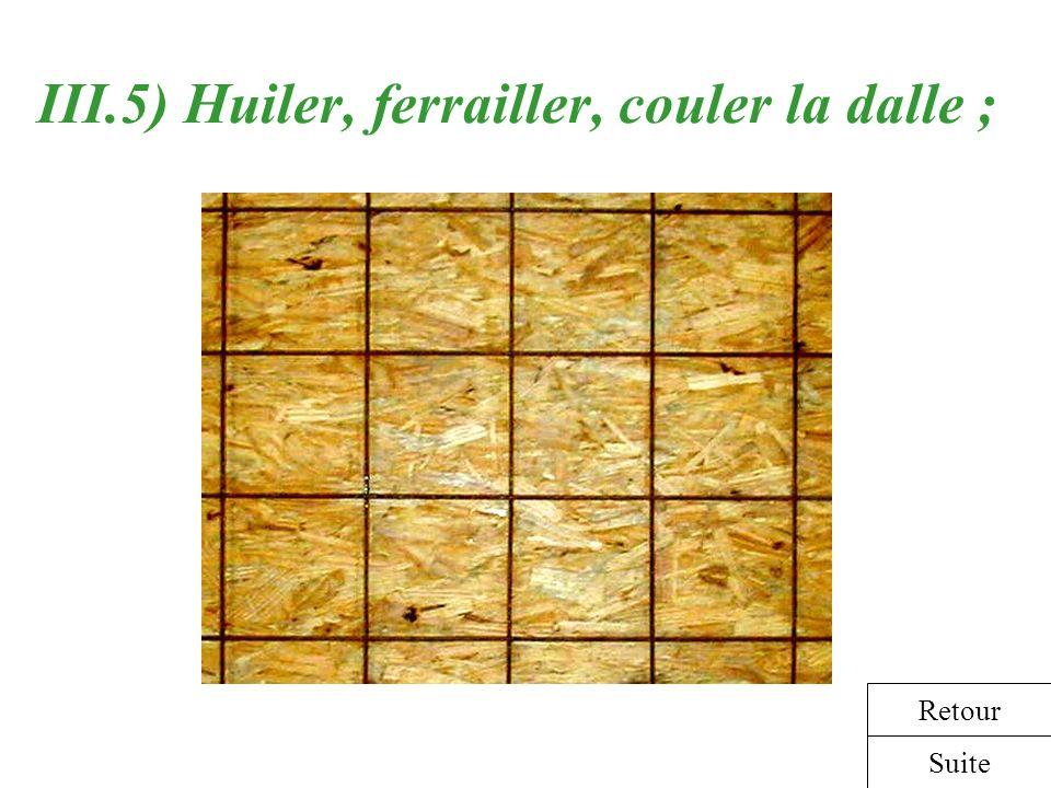 III.5) Huiler, ferrailler, couler la dalle ; Suite Retour
