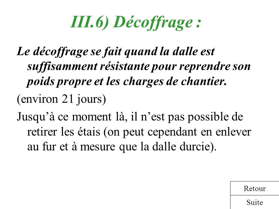 III.6) Décoffrage : Le décoffrage se fait quand la dalle est suffisamment résistante pour reprendre son poids propre et les charges de chantier. (envi