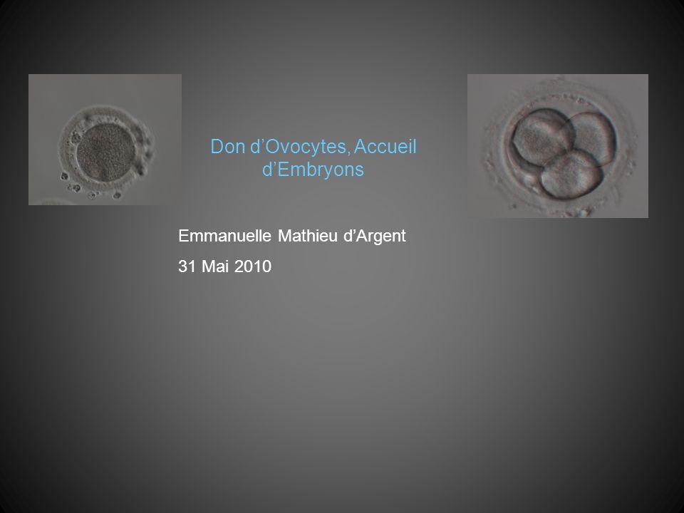 Don dOvocytes, Accueil dEmbryons Emmanuelle Mathieu dArgent 31 Mai 2010