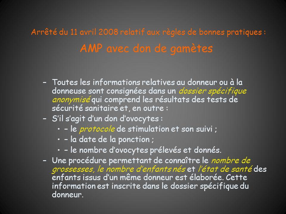 Arrêté du 11 avril 2008 relatif aux règles de bonnes pratiques : AMP avec don de gamètes –Toutes les informations relatives au donneur ou à la donneus