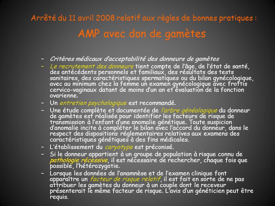 Arrêté du 11 avril 2008 relatif aux règles de bonnes pratiques : AMP avec don de gamètes –Critères médicaux dacceptabilité des donneurs de gamètes –Le