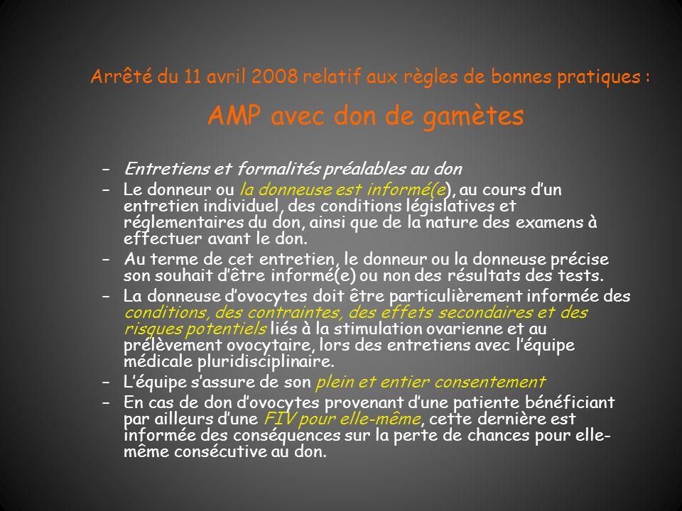 Arrêté du 11 avril 2008 relatif aux règles de bonnes pratiques : AMP avec don de gamètes –Entretiens et formalités préalables au don –Le donneur ou la