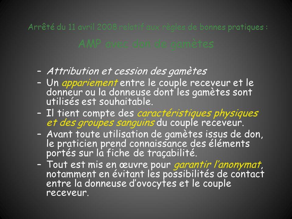 Arrêté du 11 avril 2008 relatif aux règles de bonnes pratiques : AMP avec don de gamètes –Attribution et cession des gamètes –Un appariement entre le