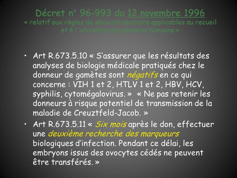 Décret n° 96-993 du 12 novembre 1996 « relatif aux règles de sécurité sanitaire applicables au recueil et à l utilisation de gamètes humains » Art R.6