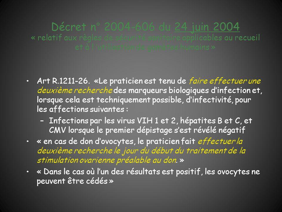 Décret n° 2004-606 du 24 juin 2004 « relatif aux règles de sécurité sanitaire applicables au recueil et à l utilisation de gamètes humains » Art R.121