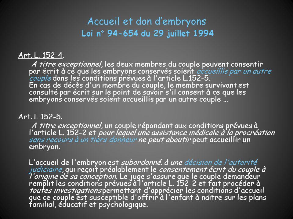 Accueil et don dembryons Loi n° 94-654 du 29 juillet 1994 Art. L. 152-4. A titre exceptionnel, les deux membres du couple peuvent consentir par écrit