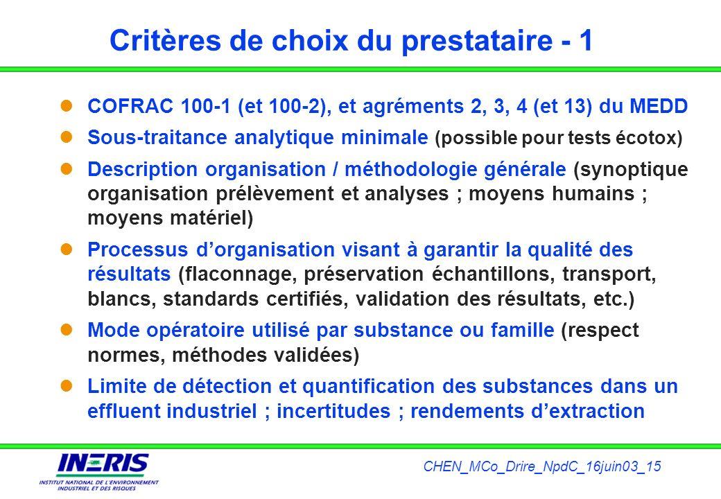 CHEN_MCo_Drire_NpdC_16juin03_15 Critères de choix du prestataire - 1 COFRAC 100-1 (et 100-2), et agréments 2, 3, 4 (et 13) du MEDD Sous-traitance anal