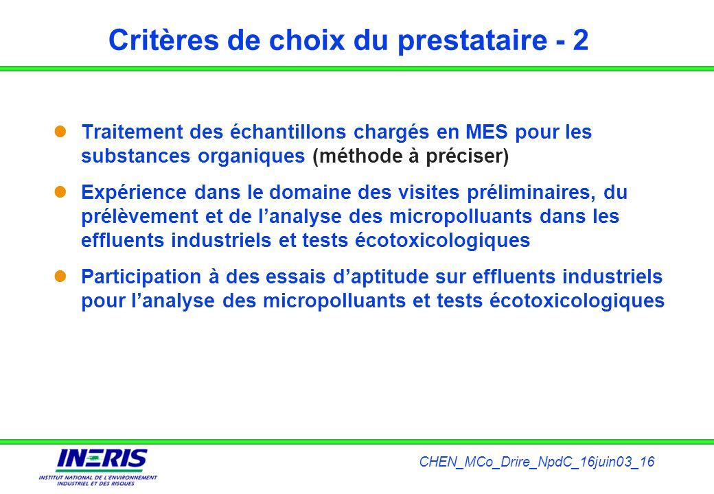 CHEN_MCo_Drire_NpdC_16juin03_16 Critères de choix du prestataire - 2 Traitement des échantillons chargés en MES pour les substances organiques (méthod